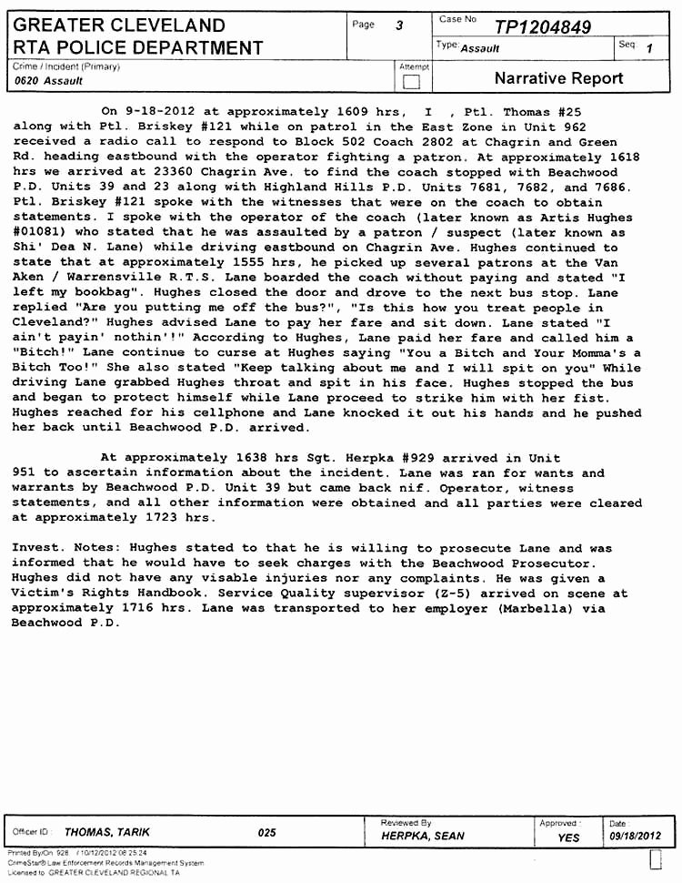 Sample Police Report Writing Awesome Police Reports Detail Cleveland Bus Uppercut