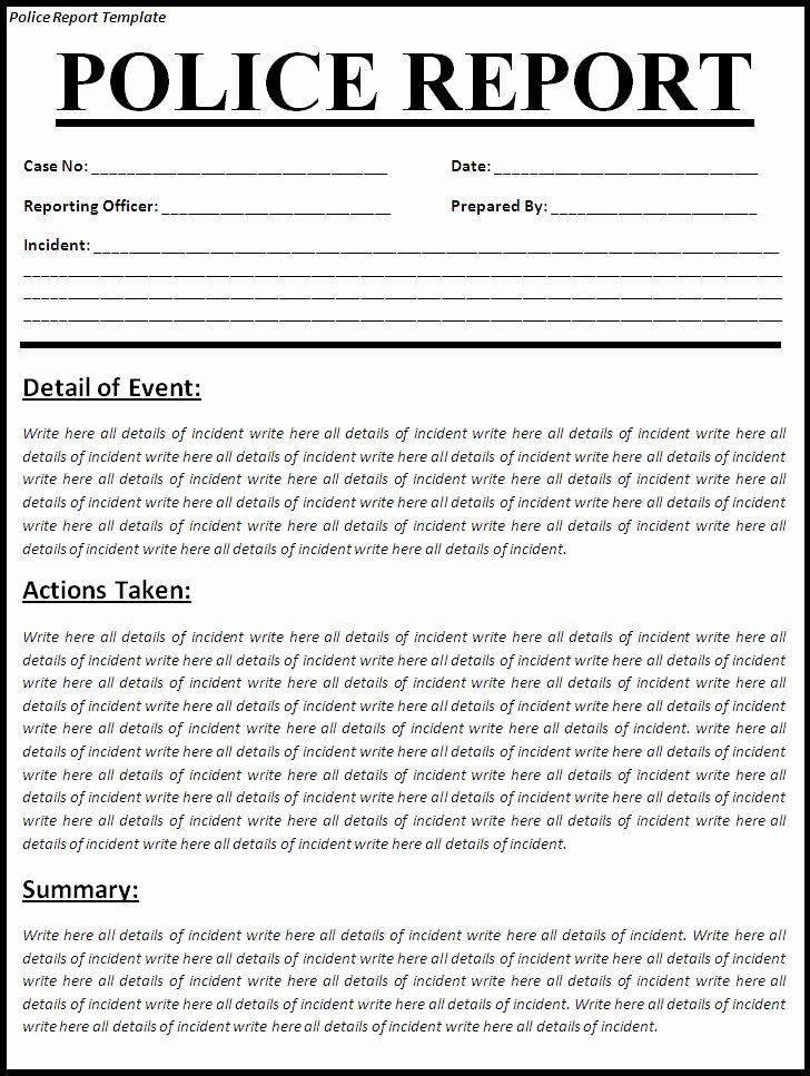 Sample Police Report Writing Beautiful Free Printable Police Report Template form Generic