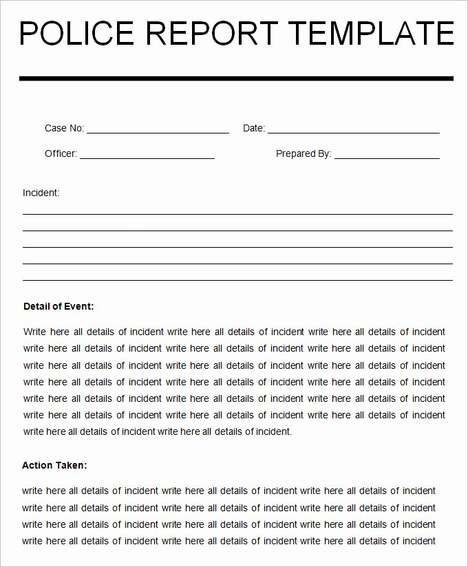 Sample Police Report Writing Best Of Sample Police Report Template 11 Free Word Pdf