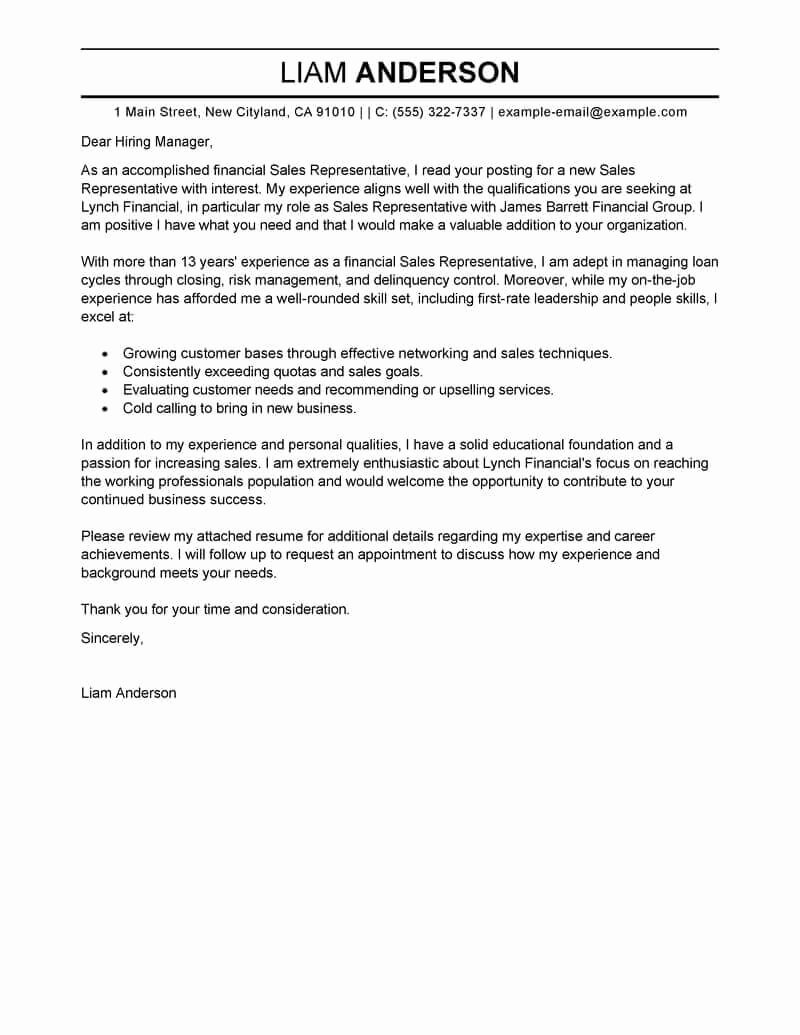 Sample Professional Cover Letter Inspirational Free Cover Letter Examples for Every Job Search