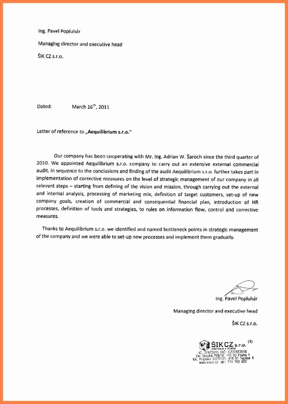 Sample Professional Letter Of Recommendation Elegant 11 Letter Of Re Mendation Pany