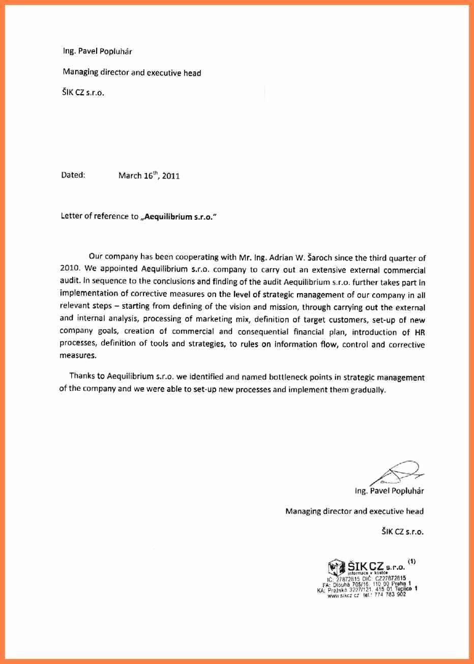 Sample Professional Letter Of Recommendation Elegant 11 Letter Of Re Mendation Pany