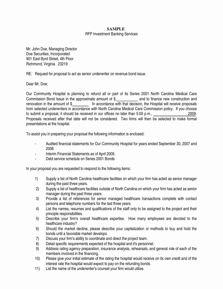 Sample Proposal Cover Letter Fresh Nc Dhsr Mcc Sample Rfp Investment Banking Services