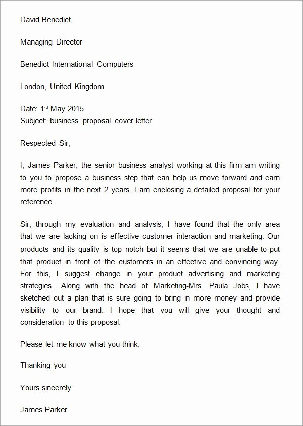 Sample Proposal Cover Letter Fresh Sample Business Proposal Cover Letter