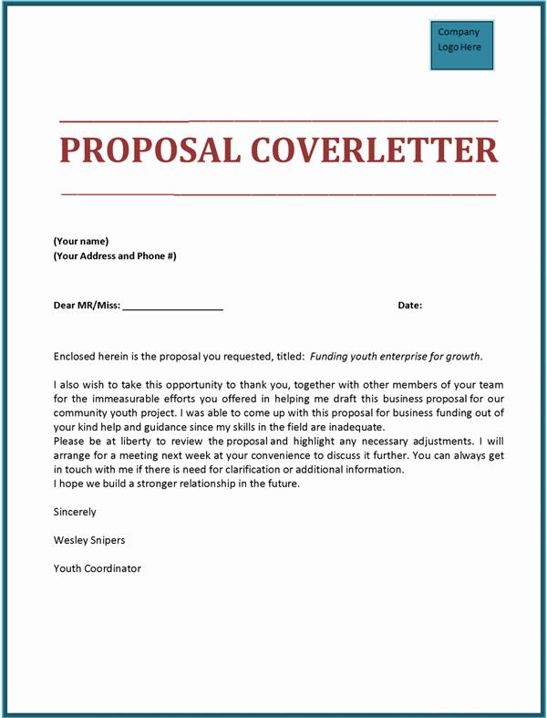 Sample Proposal Cover Letter Unique Proposal Cover Letter tools