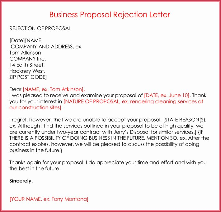 Sample Proposal Rejection Letter Beautiful Rejection Letters 20 Free Samples & formats for Hr