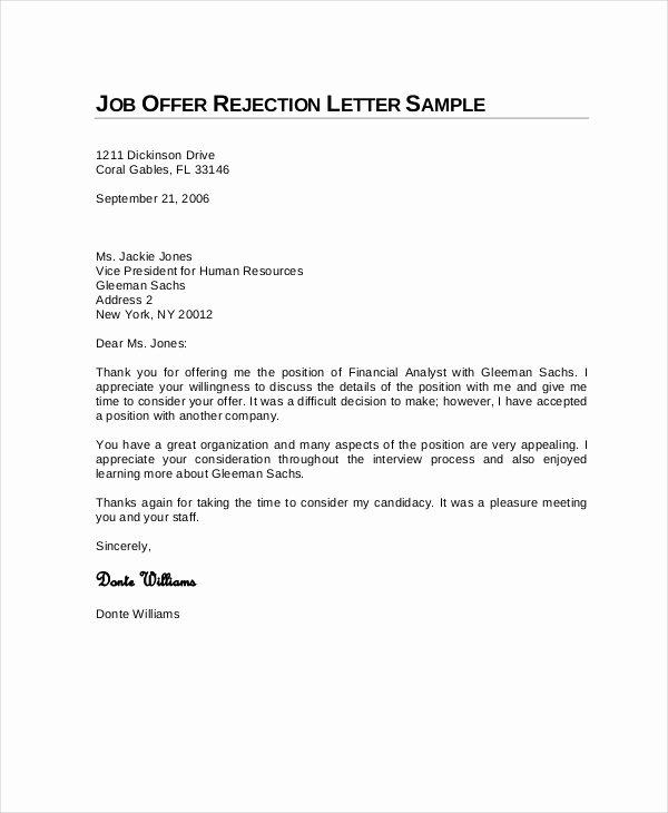 Sample Proposal Rejection Letter Best Of Job Rejection Letter