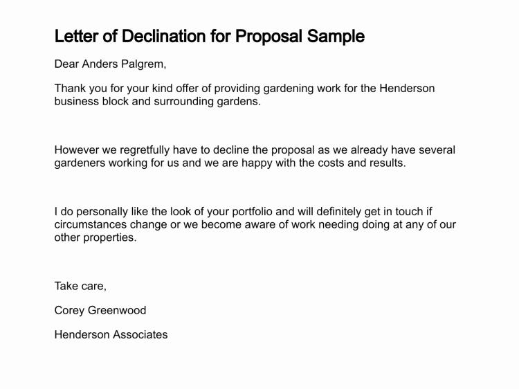 Sample Proposal Rejection Letter Best Of Letter Of Declination