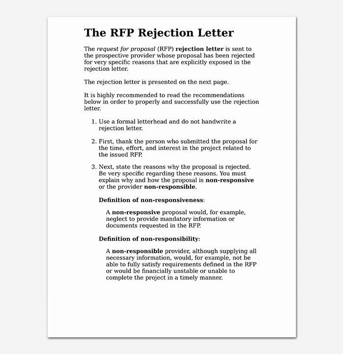Sample Proposal Rejection Letter Inspirational Proposal Rejection Letter format & Sample Letters