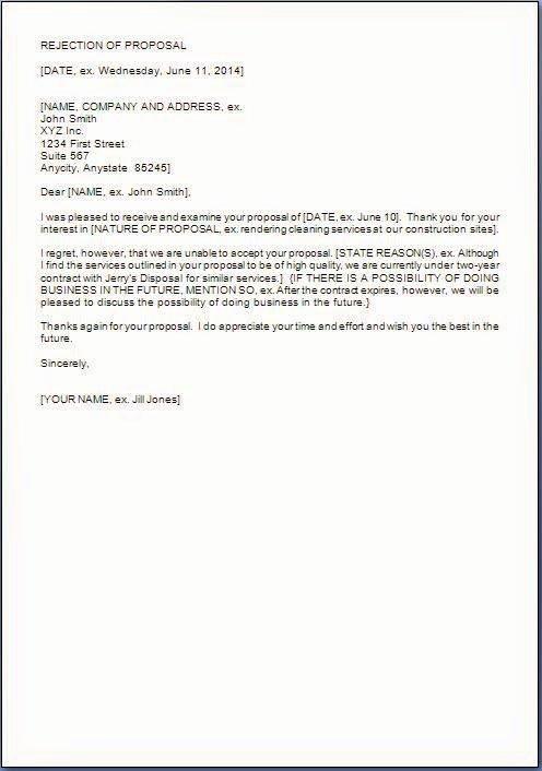 Sample Proposal Rejection Letter Lovely Proposal Rejection Letter format