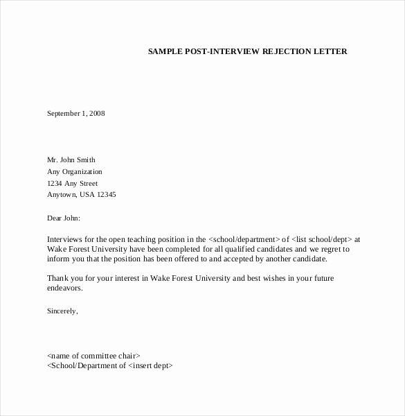 Sample Proposal Rejection Letter Lovely Rejection Letter