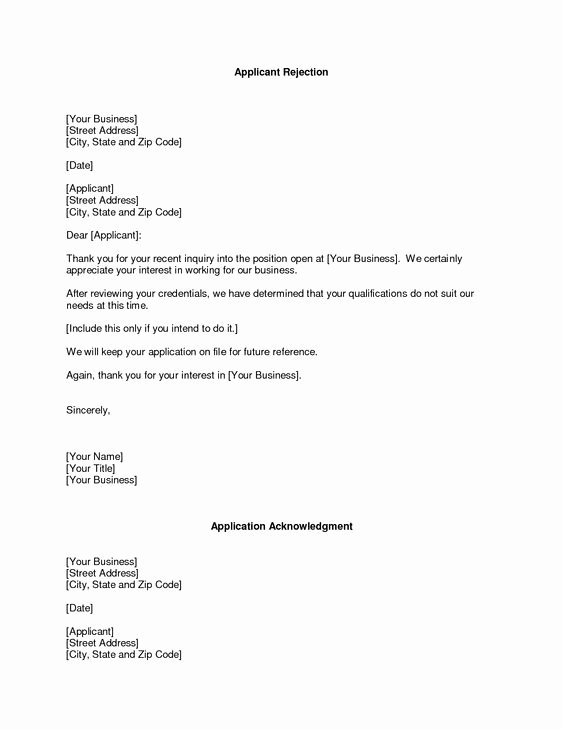 Sample Proposal Rejection Letter New Business Rejection Letter Rejection Proposal Free