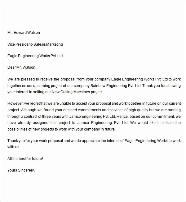 Sample Proposal Rejection Letter New Free 7 Rejection Letters In Word