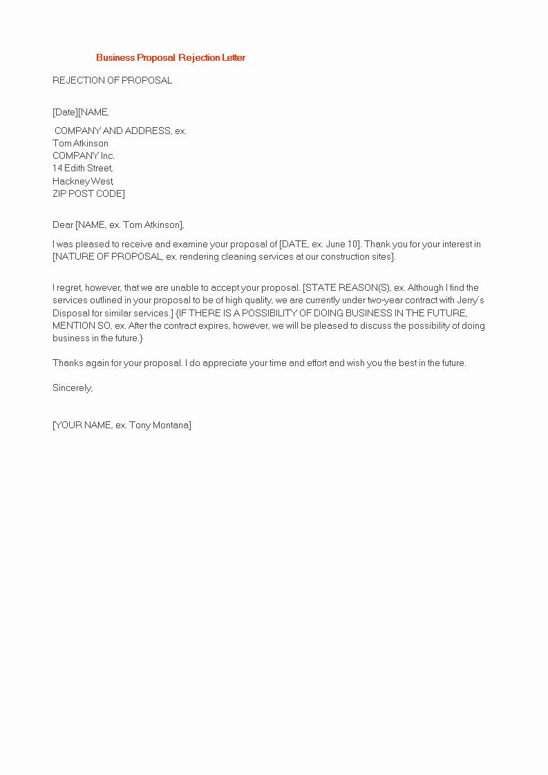 Sample Proposal Rejection Letter Unique Polite Business Proposal Rejection Letter