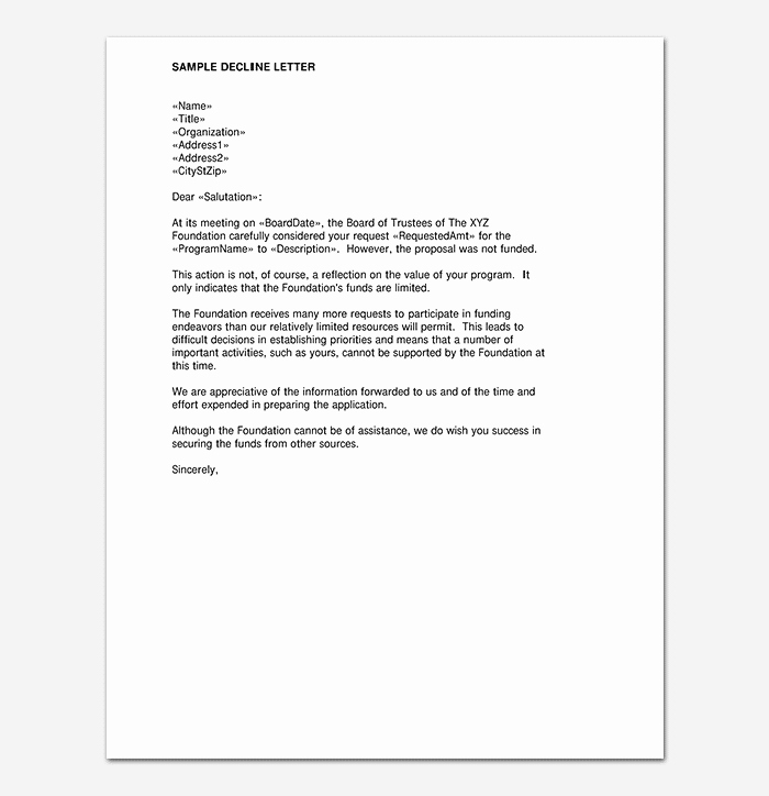 Sample Proposal Rejection Letter Unique Proposal Rejection Letter format & Sample Letters