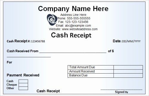 Sample Receipt for Cash Payment Best Of Various Characteristics Of A Cash Receipt Template
