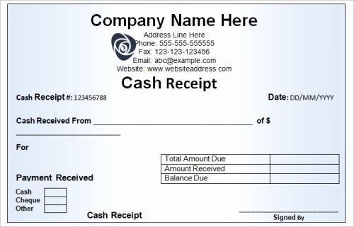Sample Receipt for Cash Payment Best Of Various Characteristics Of A Cash Receipt Template