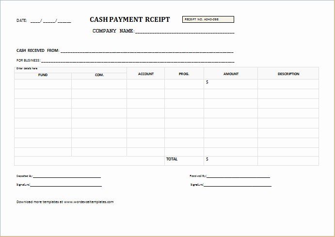 Sample Receipt for Cash Payment Inspirational Cash Payment Receipt for Word