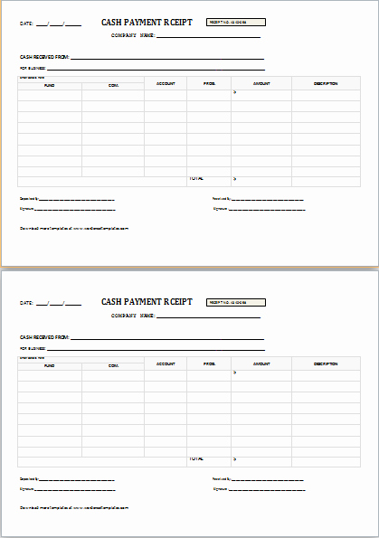 Sample Receipt for Cash Payment Luxury Cash Payment Receipt for Word