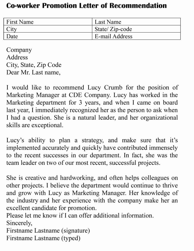 Sample Recommendation Letter for Coworker Awesome Letter Of Re Mendation for Co Worker 18 Sample Letters