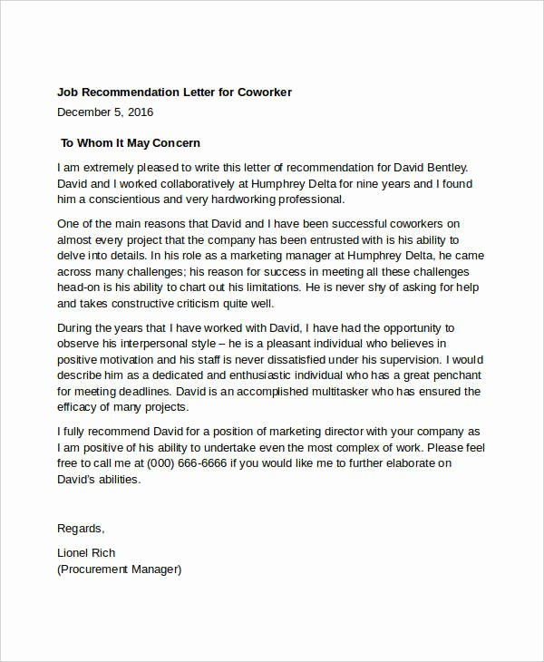 Sample Recommendation Letter for Coworker Fresh Coworker Re Mendation Letter 10 Free Word Pdf