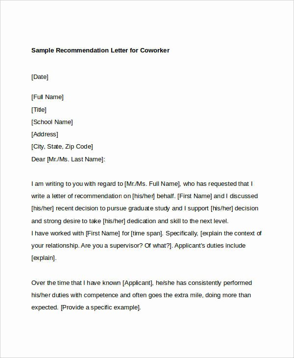 Sample Recommendation Letter for Coworker Lovely Coworker Re Mendation Letter 10 Free Word Pdf