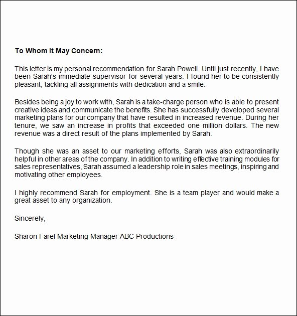 Sample Recommendation Letter for Job Beautiful Free 12 Job Re Mendation Letters In Word Pdf