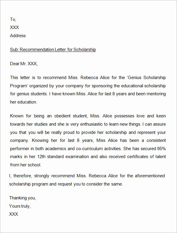 Sample Recommendation Letter for Scholarship Elegant Free 32 Sample Letters Of Re Mendation for Scholarship