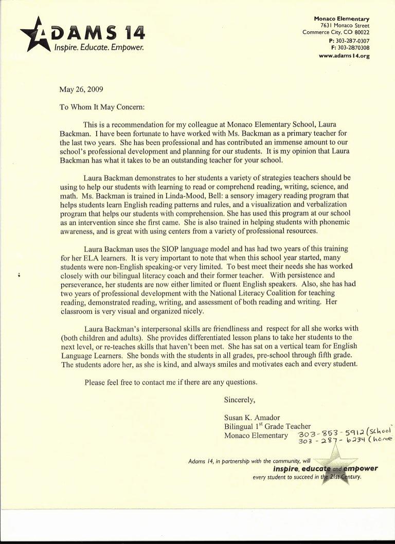 Sample Recommendation Letter for Teacher Beautiful Letter Of Re Mendation From Elementary School Teacher