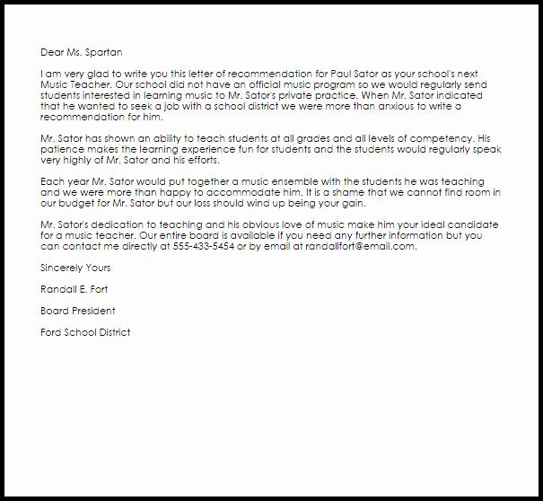 Sample Recommendation Letter for Teacher Beautiful Music Teacher Re Mendation Letter Example