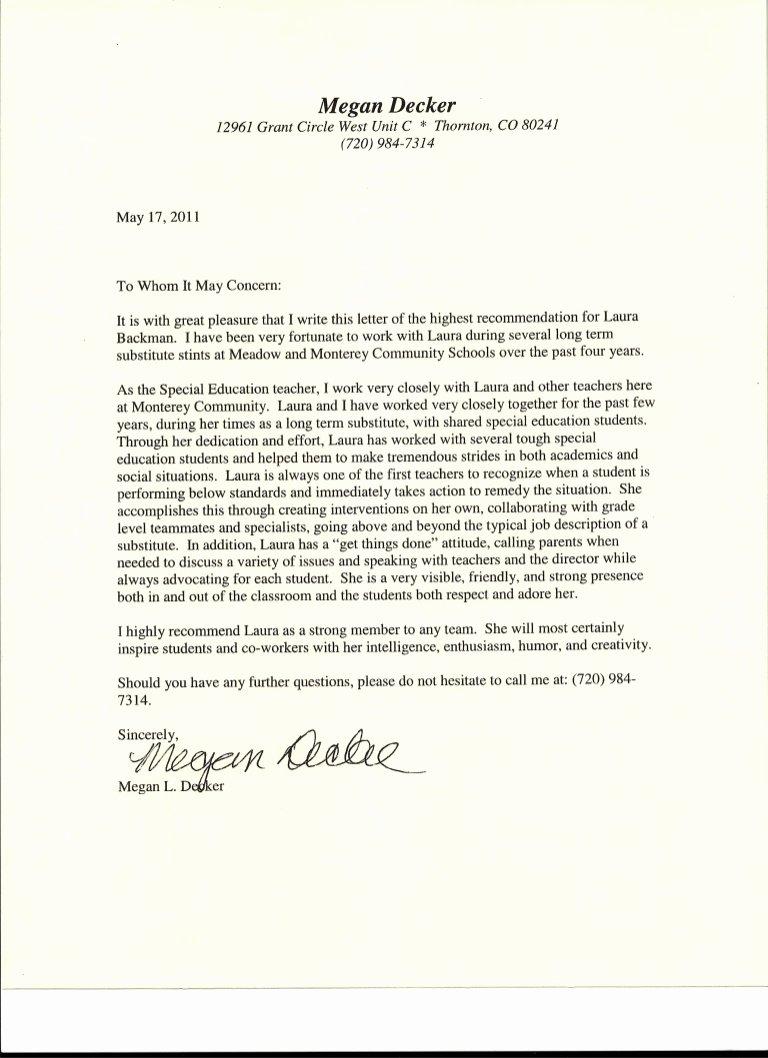 Sample Recommendation Letter for Teacher Best Of Letter Of Re Mendation From Special Education Teacher