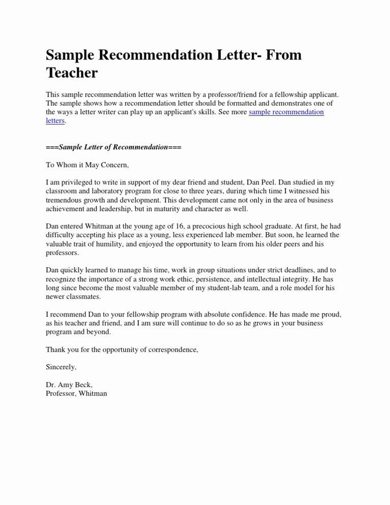 Sample Recommendation Letter for Teacher Inspirational Sample Re Mendation Letter From Teacher Doc
