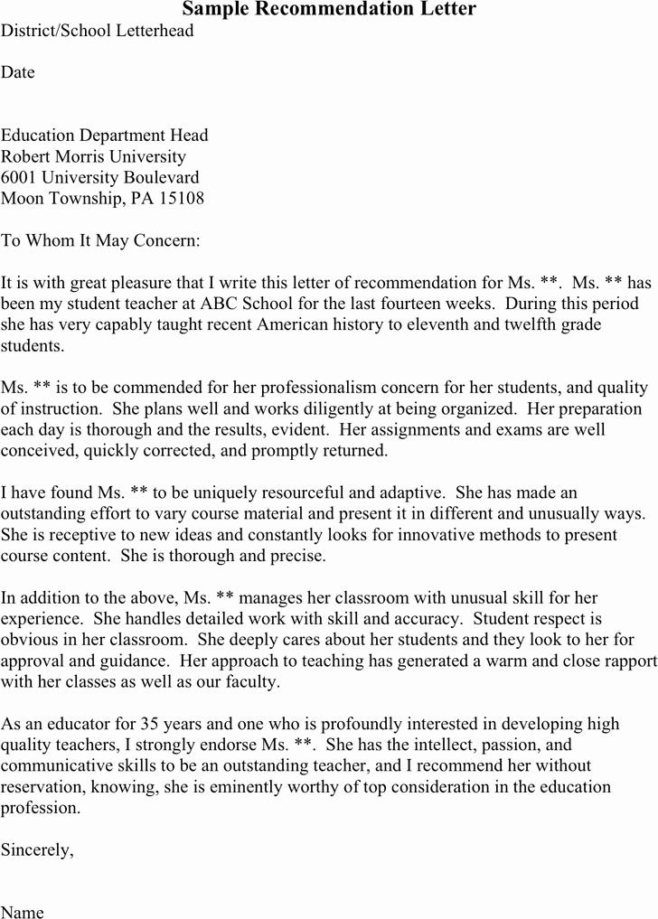Sample Recommendation Letter for Teacher Lovely Sample Letter Re Mendation for Student Teacher