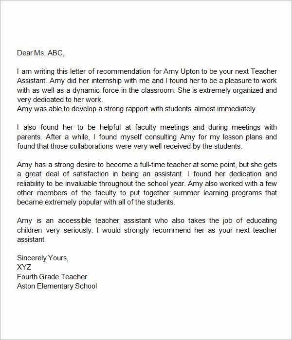 Sample Recommendation Letter for Teacher New 18 Letter Of Re Mendation for Teacher Samples – Pdf
