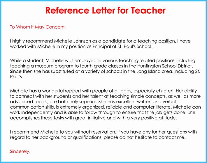 Sample Recommendation Letter for Teacher New Teacher Re Mendation Letter 20 Samples Fromats