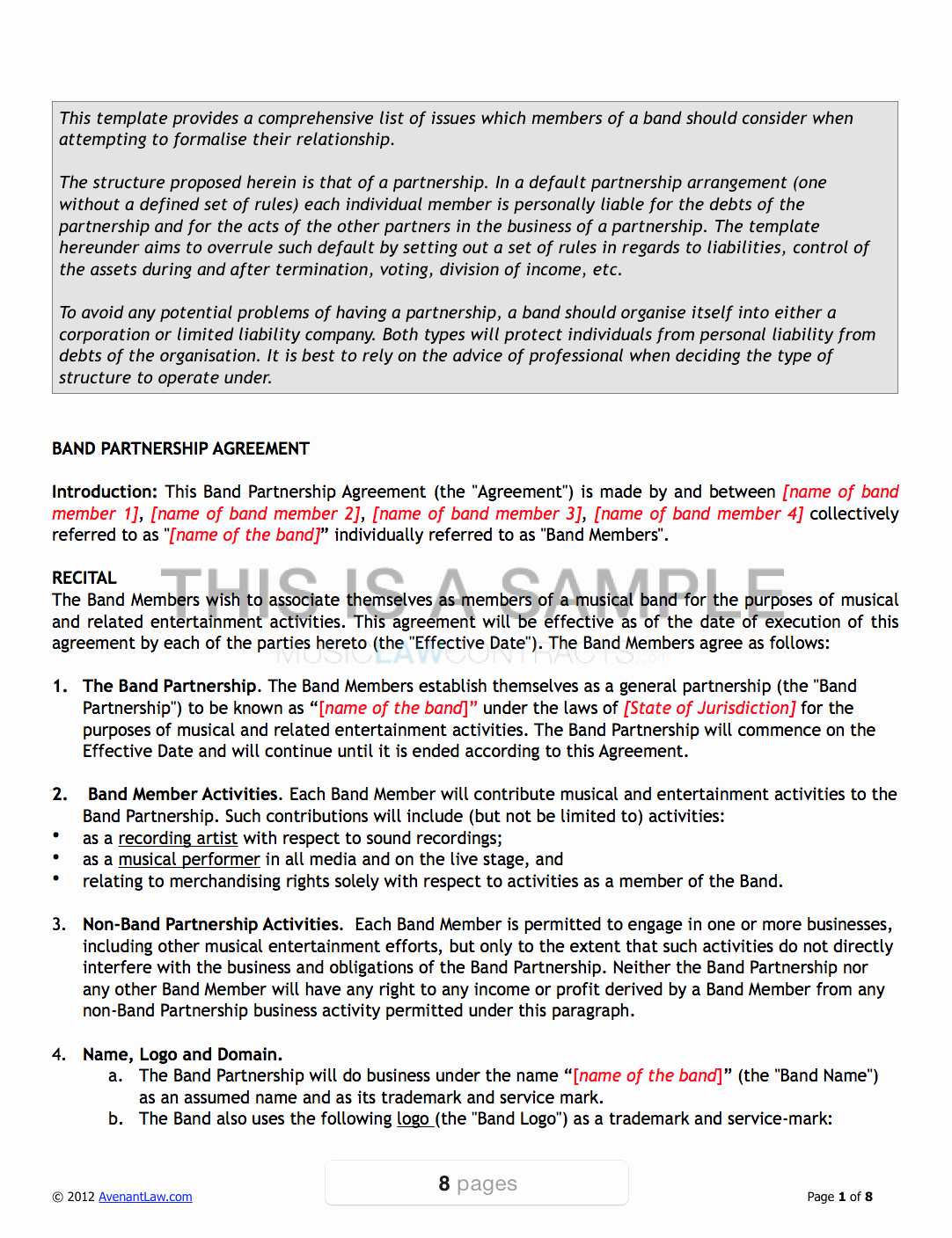 Sample Record Label Contract Fresh Band Agreement Template