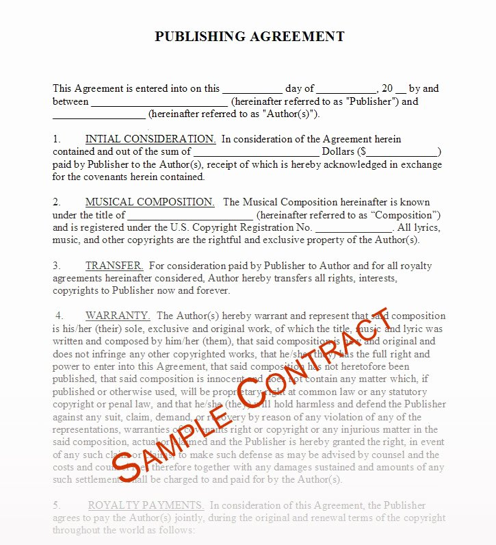 Sample Record Label Contract Lovely Contractor Agreement Sample Free Printable Documents