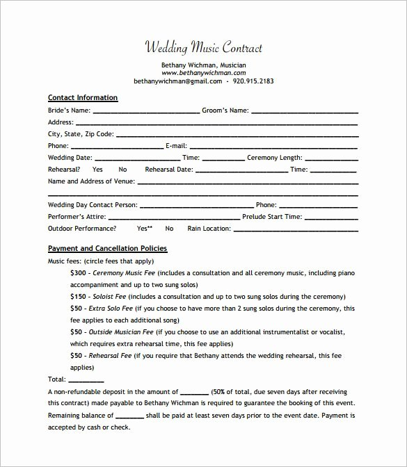 Sample Record Label Contract New Wedding Band Contract Templates Dj In 2019