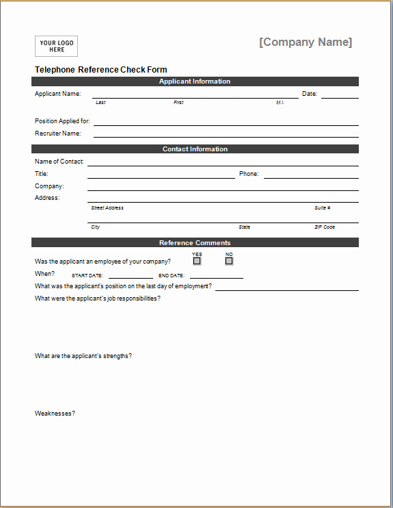 Sample Reference Check form Awesome Telephone Reference Check form
