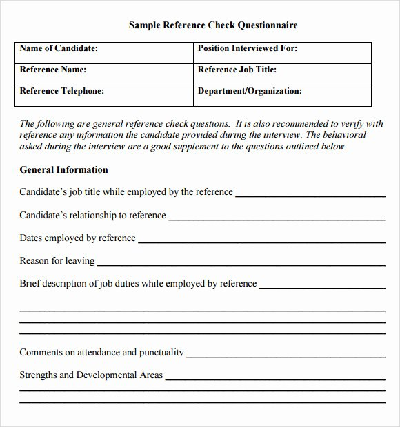 Sample Reference Check form Elegant 15 Reference Check Templates to Download for Free