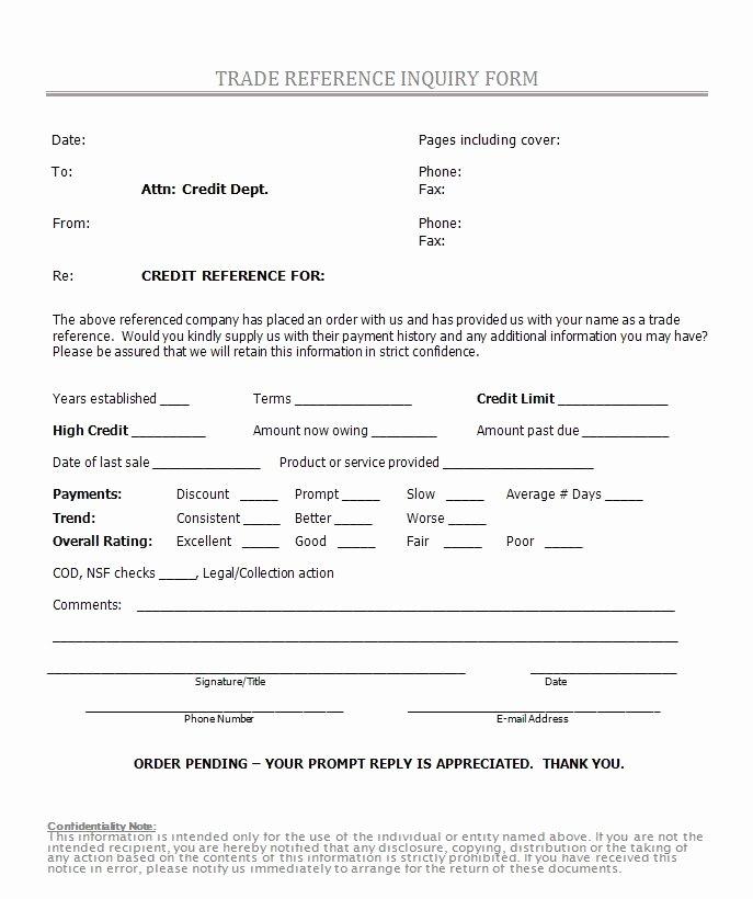 Sample Reference Check form Fresh Printable Sample Credit Reference form form