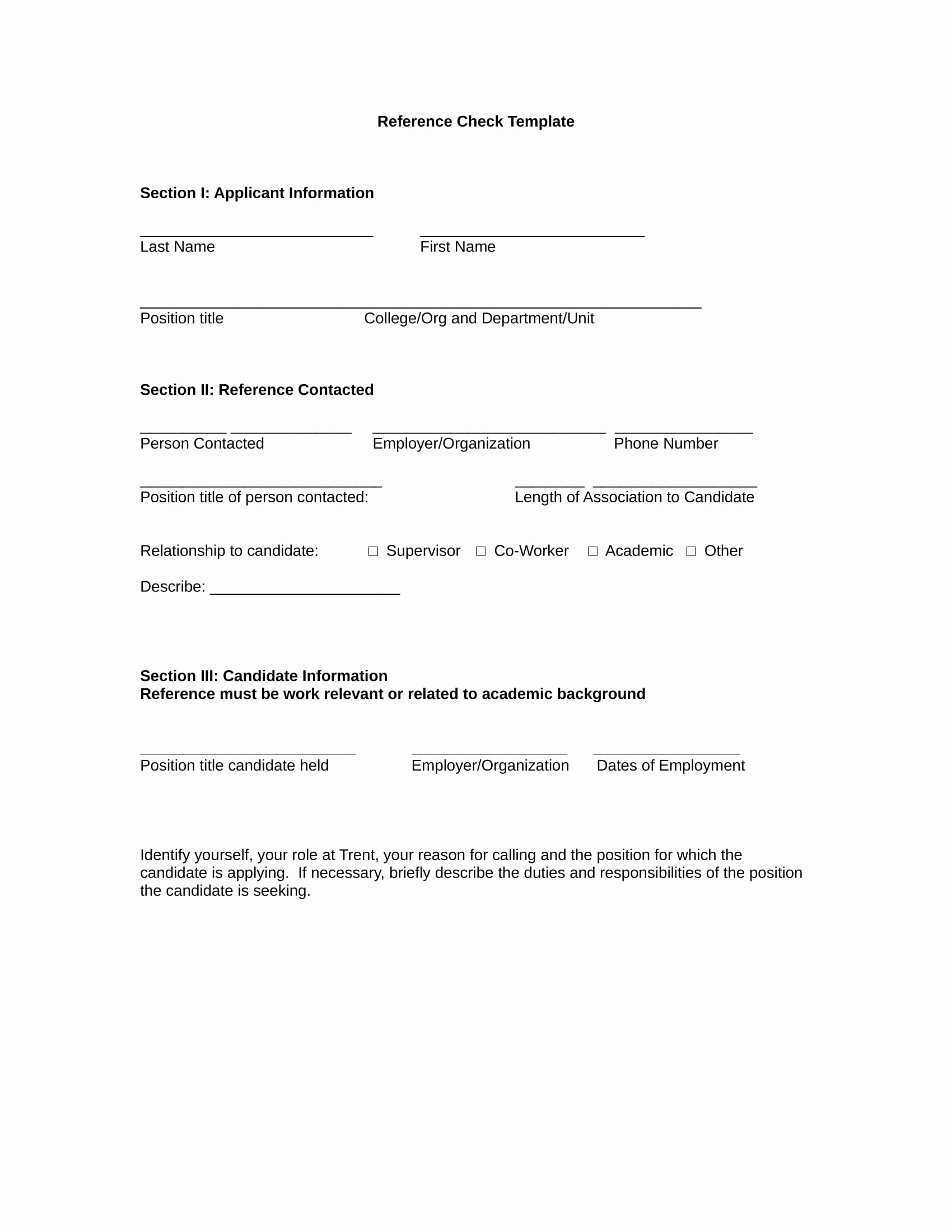 Sample Reference Check form Unique 14 Reference Check forms Free Pdf format Download