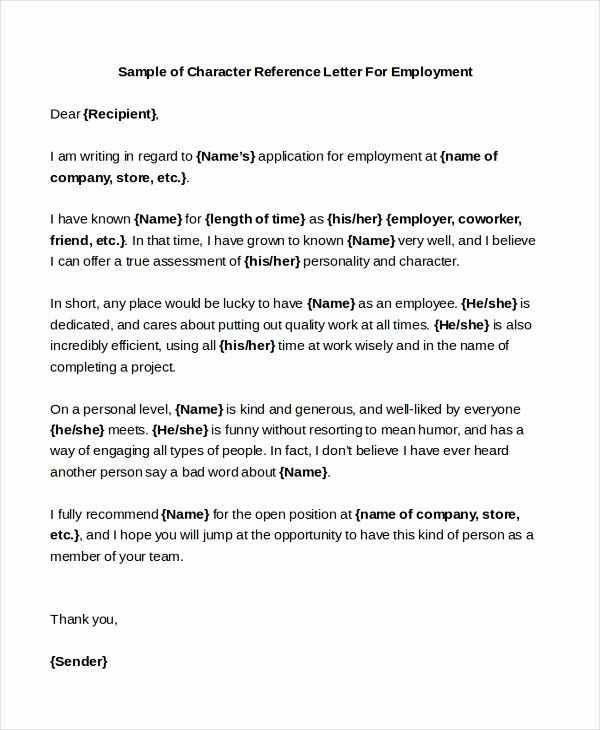 Sample Reference Letter for Employee Inspirational Free 6 Sample Character Reference Letters In Pdf