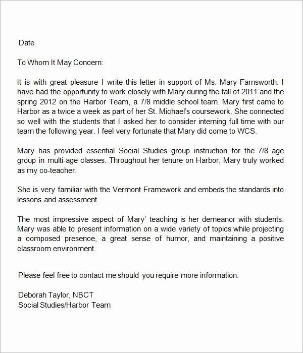 Sample Reference Letters for Teachers Best Of 13 Letters Of Re Mendation for Teacher