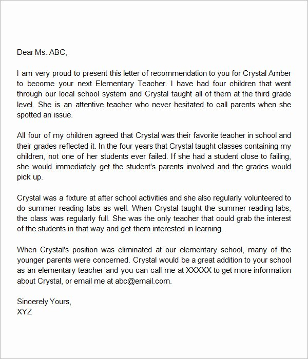 Sample Reference Letters for Teachers Fresh Sample Letters Of Re Mendation for A Teacher 9