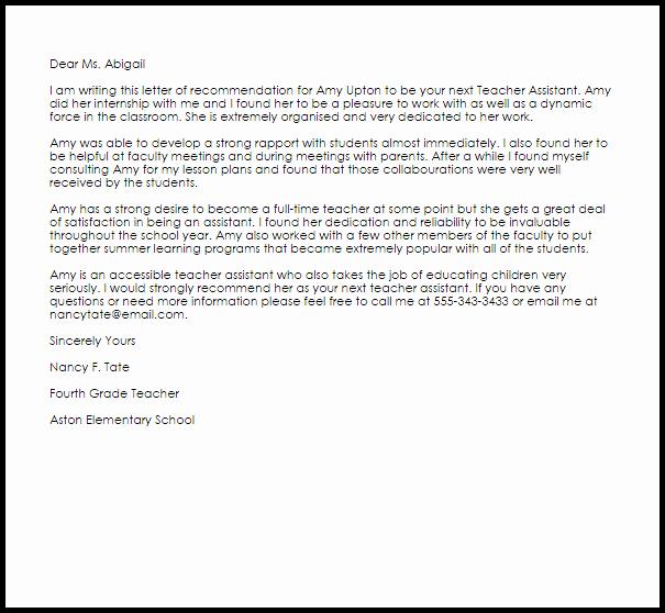 Sample Reference Letters for Teachers Lovely Teacher assistant Re Mendation Letter
