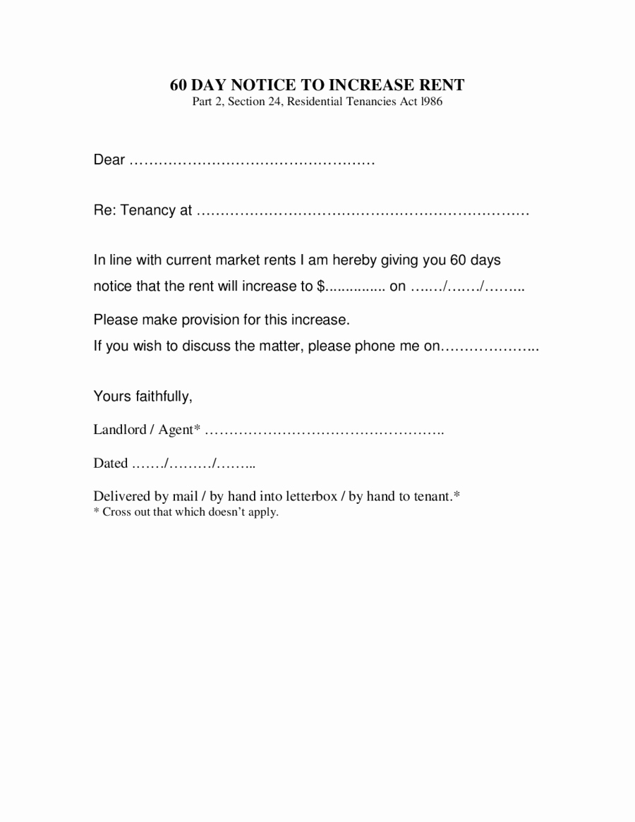 Sample Rent Increase Letter Awesome 2019 Rent Increase Letter Fillable Printable Pdf