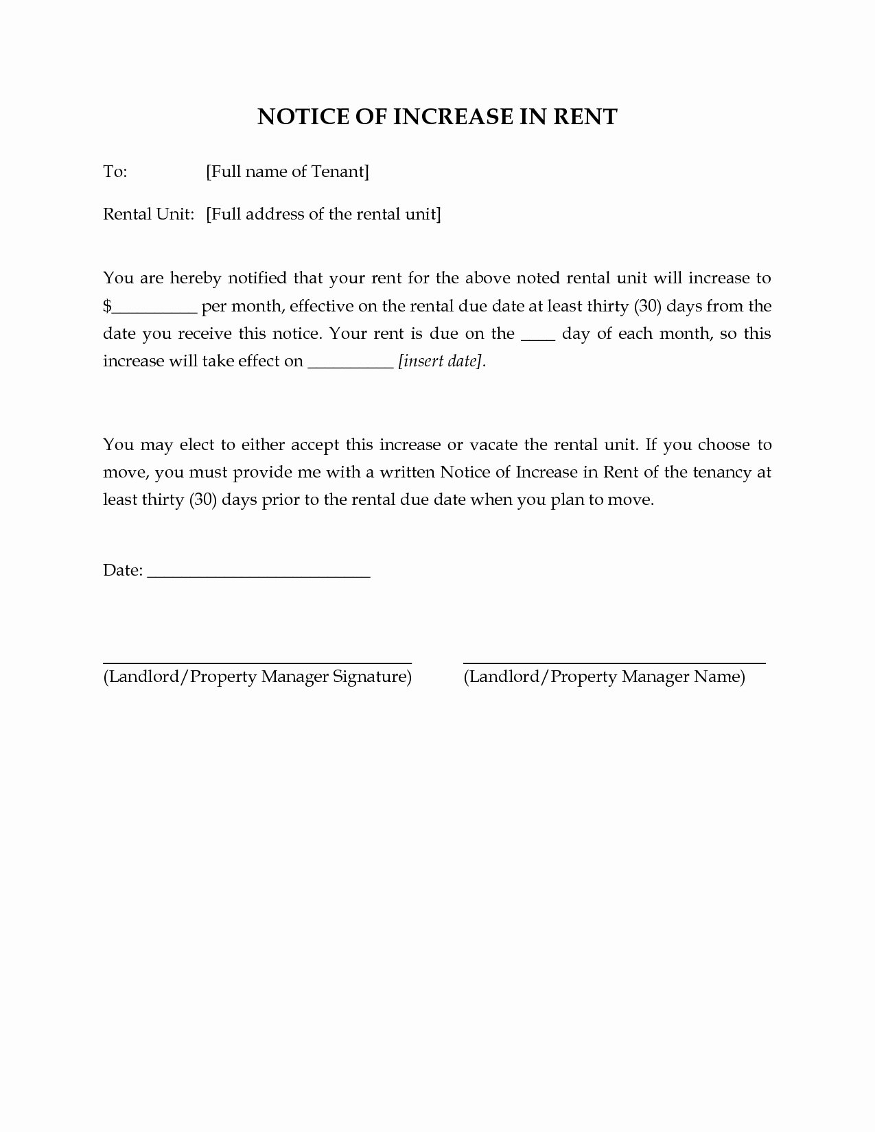 Sample Rent Increase Letter Elegant 16 Rent Increase Letter to Tenant Template Collection