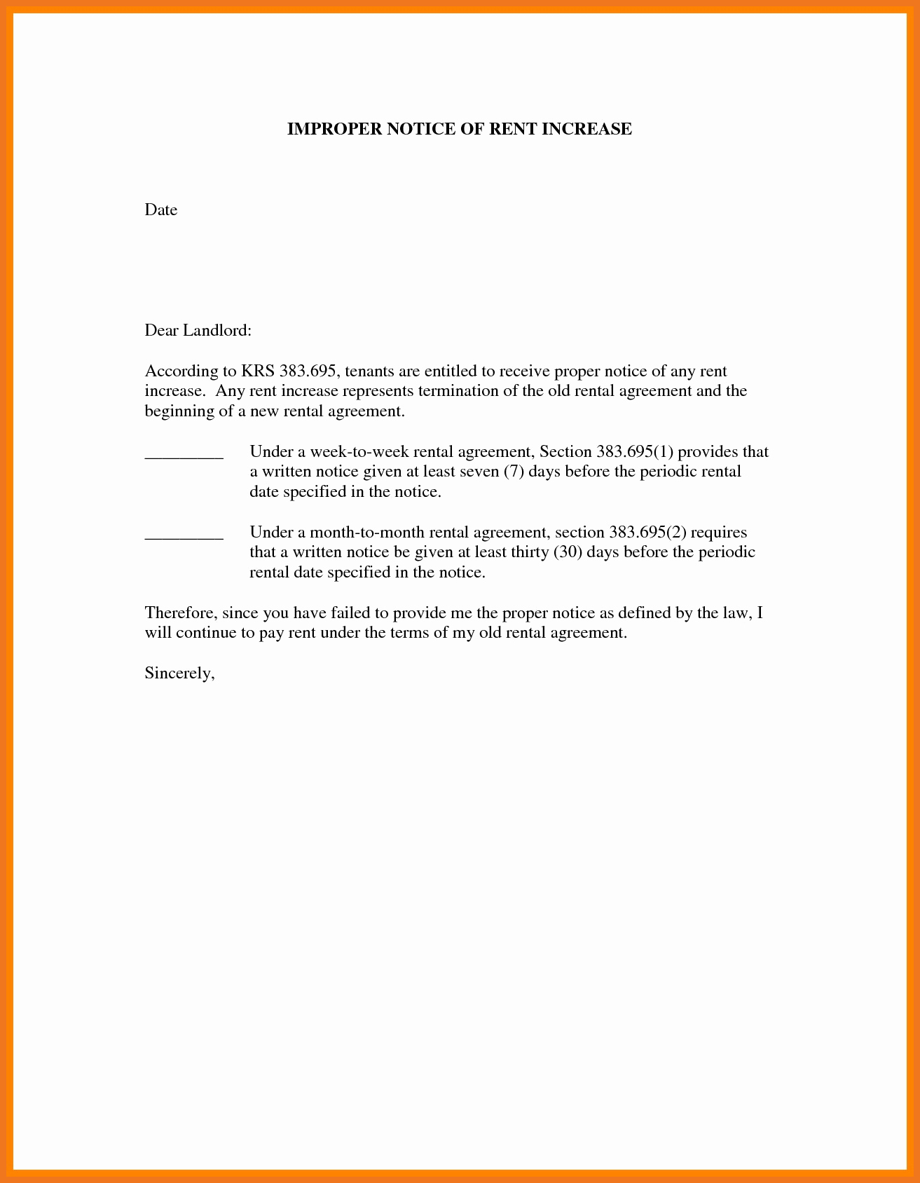 Sample Rent Increase Letter Lovely 3 4 Rent Increase Letter to Tenant