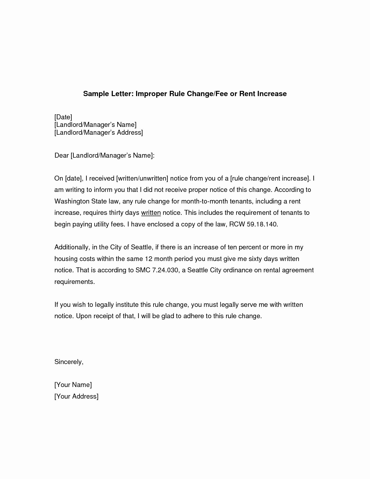 Sample Rent Increase Letter New Change Ownership Letter to Tenants Template Examples